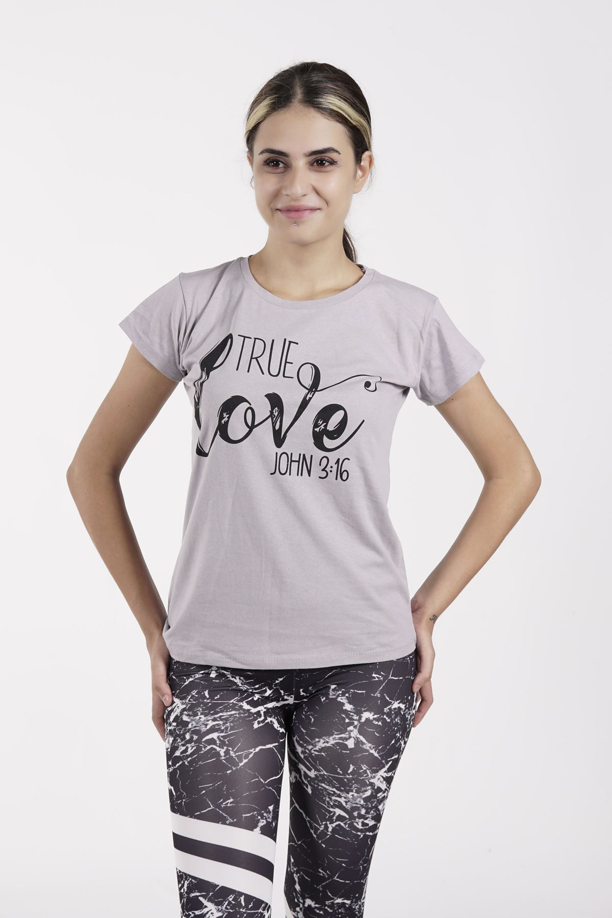 True Love Baskılı Gri Bayan T-shirt